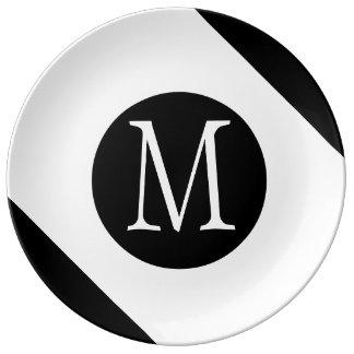 Monogramme blanc et noir moderne, simple et assiette en porcelaine