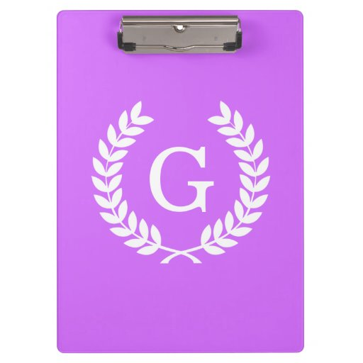Monogramme blanc lilas d'initiale de guirlande de