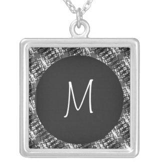 Monogramme blanc moderne sur le motif abstrait collier