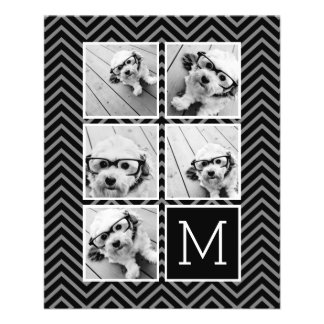 Monogramme blanc noir de collage de photo prospectus 11,4 cm x 14,2 cm