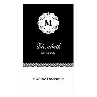 Monogramme blanc noir de dentelle de directeur carte de visite standard