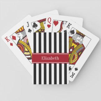Monogramme blanc noir de nom de canneberge de jeu de cartes
