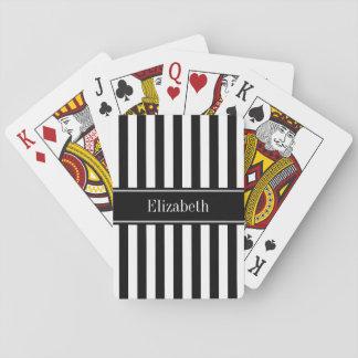 Monogramme blanc noir de nom de noir de rayure cartes à jouer