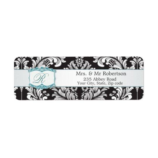 Monogramme blanc noir R de damassé épousant Avery Étiquette D'adresse Retour