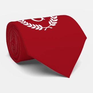Monogramme blanc rouge d'initiale de guirlande de cravate