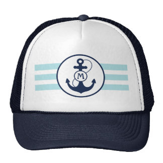 Monogramme bleu avec l'ancre casquettes
