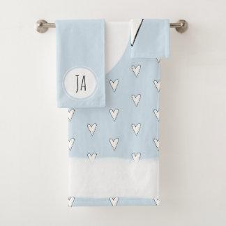 Monogramme bleu de motif de griffonnage du coeur