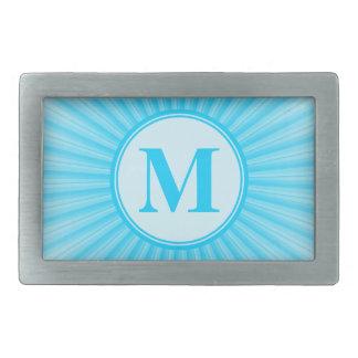 Monogramme bleu de Sun personnalisé Boucle De Ceinture Rectangulaire