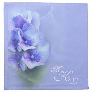 Monogramme bleu d'hortensia serviette imprimée