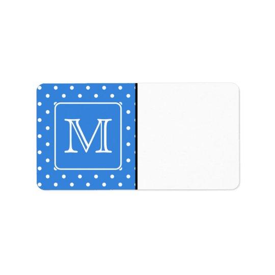 Monogramme bleu et blanc de motif de point de polk étiquettes d'adresse