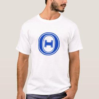 Monogramme bleu et blanc de thêta grec de lettre t-shirt