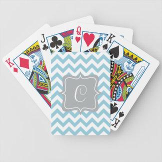 Monogramme bleu et blanc de zigzag jeux de cartes
