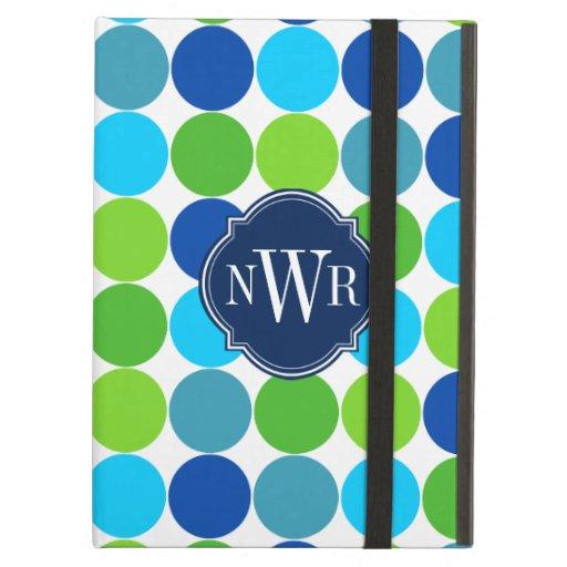 Monogramme bleu et vert à la mode de motif de poin