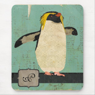 Monogramme bleu Mousepad de lagune de pingouin Tapis De Souris