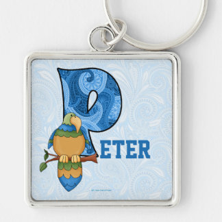 """Monogramme bleu """"P """" de perroquet de Paisley de Porte-clé Carré Argenté"""