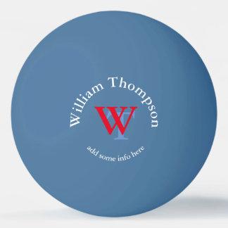 monogramme - bleu personnalisé balle de ping pong