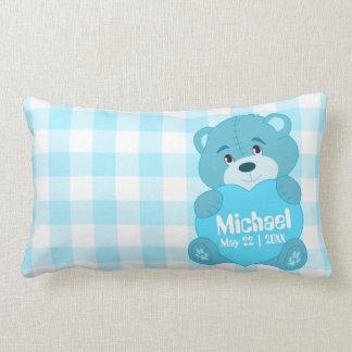 Monogramme bleu personnalisé mignon d'ours de coussin rectangle