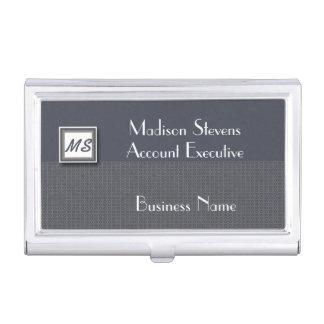 Monogramme bleu, porte-cartes de carte de visite étui pour cartes de visite