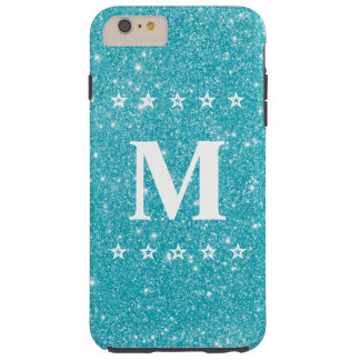 Monogramme bleu turquoise cinq étoiles de coutume coque tough iPhone 6 plus