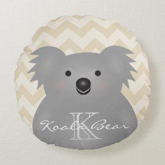 Monogramme câlin mignon d'ours de koala de bébé de coussins ronds