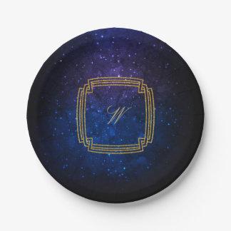 Monogramme carré simple sur la galaxie bleue assiettes en papier