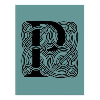 Monogramme celtique vintage de noeud de la lettre carte postale