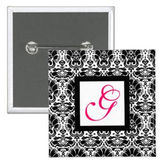 MONOGRAMME CHIC de DAMASSÉ, fuchsia rose Badges Avec Agrafe