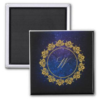 Monogramme circulaire de motif sur la galaxie aimant