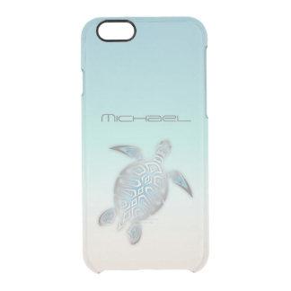 Monogramme clair argenté costal de tortue de mer coque iPhone 6/6S