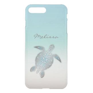 Monogramme clair argenté costal de tortue de mer coque iPhone 8 plus/7 plus