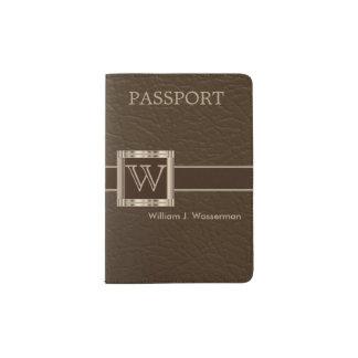 Monogramme classieux du cuir | de chocolat protège-passeport