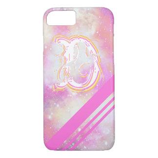 """Monogramme """"D"""" sur une galaxie lumineuse et Coque iPhone 7"""