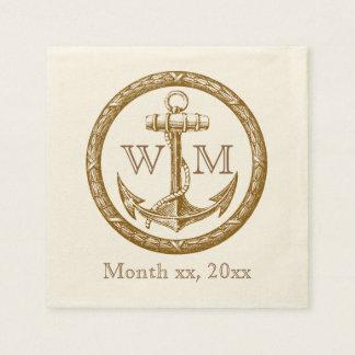 Monogramme d'ancre et de guirlande serviettes en papier
