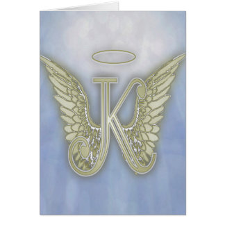 Monogramme d'ange de la lettre K Carte De Vœux