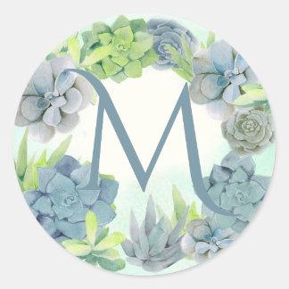 Monogramme d'aquarelle de Succulents Sticker Rond