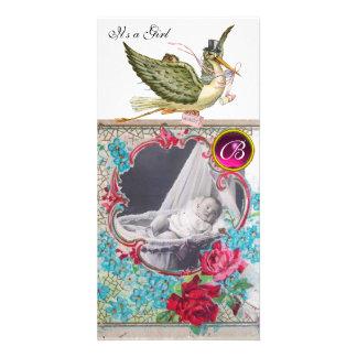 MONOGRAMME de BABY SHOWER de CIGOGNE, ruby.white Cartes De Vœux Avec Photo