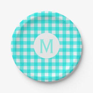 Monogramme de base simple de guingan de turquoise assiettes en papier