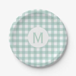 Monogramme de base simple de guingan de vert sauge assiettes en papier