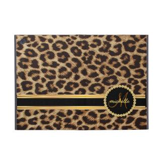 Monogramme de Bling d'or de léopard Étui iPad Mini