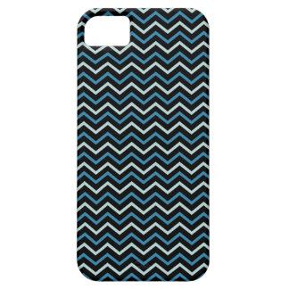 Monogramme de Chevron de gris bleu et de blanc dur Coque Case-Mate iPhone 5