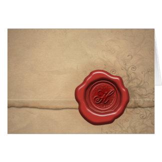 Monogramme de cire de cachetage : Lettre H Carte De Vœux