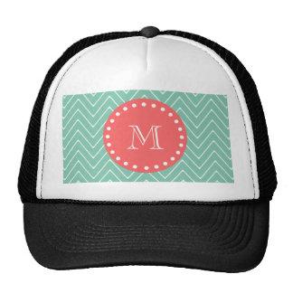 Monogramme de corail vert en bon état du motif | d casquette de camionneur