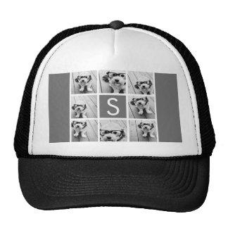 Monogramme de coutume de collage de photo du blanc casquettes de camionneur