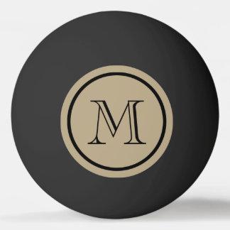 Monogramme de coutume de noir de couleur solide de balle tennis de table