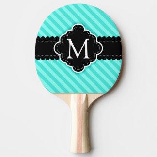 Monogramme de coutume de noir de motif de rayures raquette tennis de table