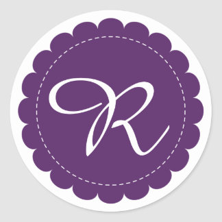 Monogramme de Cursive de cercle cranté par pourpre Sticker Rond