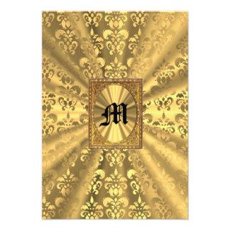 Monogramme de damassé d or invitations