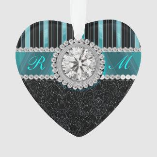 Monogramme de diamant de Teal, argenté et noir