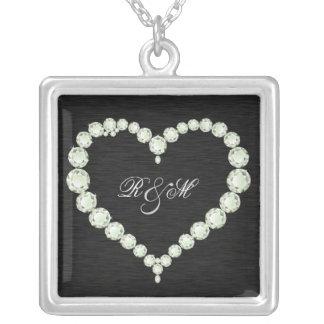 """Monogramme de diamant """"son et ses"""" initiales pendentif carré"""