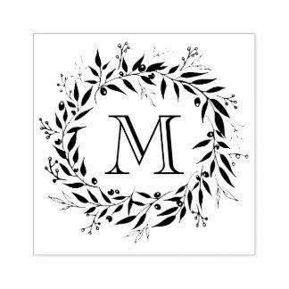 Monogramme de famille de guirlande de lauriers et